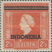 """[Queen Wilhelmina - Netherlands Indies Postage Stamps Overprinted """"INDONESIA"""" - 2 Bars, type B1]"""