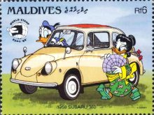 """[International Stamp Exhibition """"World Stamp Expo '89"""" - Washington, U.S.A. - Disney Cartoon Characters and Japanese Cars, type AZS]"""