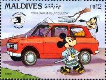 "[International Stamp Exhibition ""World Stamp Expo '89"" - Washington, U.S.A. - Disney Cartoon Characters and Japanese Cars, type AZU]"