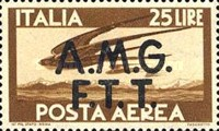 """[Airmail -  - Italy Postage Stamps of 1945 Overprinted """"A.M.G.F.T.T"""", type B4]"""