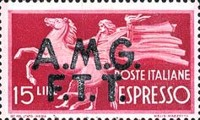 """[Express Stamps - Italy Postage Stamps of 1947 Overprinted """"A.M.G.F.T.T."""", type C]"""