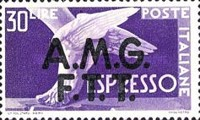 """[Express Stamps - Italy Postage Stamps of 1947 Overprinted """"A.M.G.F.T.T."""", type C2]"""