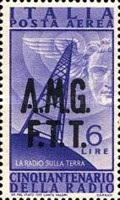 "[Airmail - The 50th Anniversary of the Radio - Italy Postage Stamps of 1947 Overprinted ""A.M.G.F.T.T."", type D]"