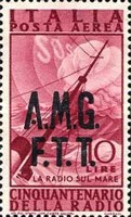 """[Airmail - The 50th Anniversary of the Radio - Italy Postage Stamps of 1947 Overprinted """"A.M.G.F.T.T."""", type D1]"""