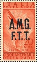 "[Airmail - The 50th Anniversary of the Radio - Italy Postage Stamps of 1947 Overprinted ""A.M.G.F.T.T."", type D2]"