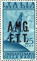 "[Airmail - The 50th Anniversary of the Radio - Italy Postage Stamps of 1947 Overprinted ""A.M.G.F.T.T."", type D3]"