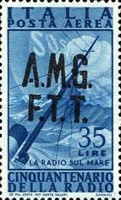 "[Airmail - The 50th Anniversary of the Radio - Italy Postage Stamps of 1947 Overprinted ""A.M.G.F.T.T."", type D4]"