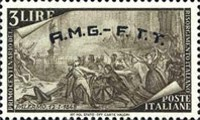 "[The 100th Anniversary of the 1848 Uprisings - Italy Postage Stamps Overprinted ""A.M.G.- F.T.T."", type E]"