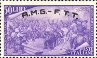 "[The 100th Anniversary of the 1848 Uprisings - Italy Postage Stamps Overprinted ""A.M.G.- F.T.T."", type E10]"