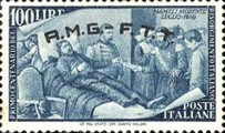 """[The 100th Anniversary of the 1848 Uprisings - Italy Postage Stamps Overprinted """"A.M.G.- F.T.T."""", type E11]"""