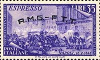 """[Express Stamp - The 100th Anniversary of the 1848 Uprisings - Italy Postage Stamp Overprinted """"A.M.G.- F.T.T."""", type E12]"""