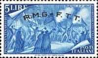 "[The 100th Anniversary of the 1848 Uprisings - Italy Postage Stamps Overprinted ""A.M.G.- F.T.T."", type E2]"