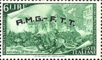 "[The 100th Anniversary of the 1848 Uprisings - Italy Postage Stamps Overprinted ""A.M.G.- F.T.T."", type E3]"