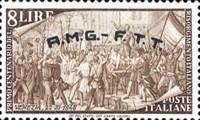 "[The 100th Anniversary of the 1848 Uprisings - Italy Postage Stamps Overprinted ""A.M.G.- F.T.T."", type E4]"