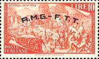"[The 100th Anniversary of the 1848 Uprisings - Italy Postage Stamps Overprinted ""A.M.G.- F.T.T."", type E5]"