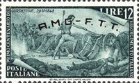 "[The 100th Anniversary of the 1848 Uprisings - Italy Postage Stamps Overprinted ""A.M.G.- F.T.T."", type E6]"
