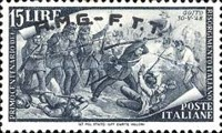 "[The 100th Anniversary of the 1848 Uprisings - Italy Postage Stamps Overprinted ""A.M.G.- F.T.T."", type E7]"