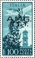 "[Airmail - Airplane over Bell Tower - Italy Postage Stamps Overprinted ""A.M.G.F.T.T."", type F]"
