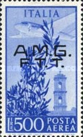 "[Airmail - Airplane over Bell Tower - Italy Postage Stamps Overprinted ""A.M.G.F.T.T."", type F2]"