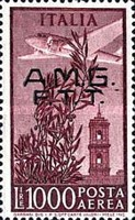 "[Airmail - Airplane over Bell Tower - Italy Postage Stamps Overprinted ""A.M.G.F.T.T."", type F3]"